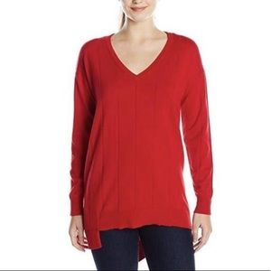 Vince Camuto Red Drop Stitch Asymmetrical V-Neck S